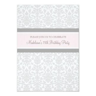 Gray Damask 75th Birthday Party Invitations