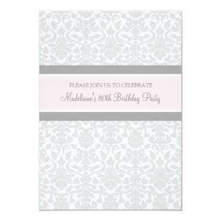 Gray Damask 80th Birthday Party Invitations