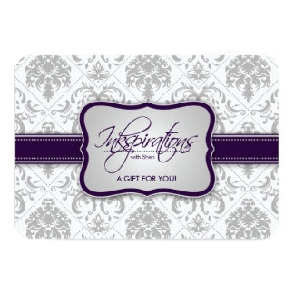 Gray Damask and Eggplant Purple Gift Certificate Card