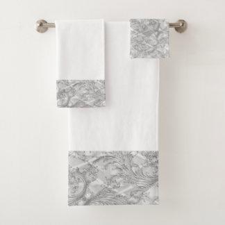 Gray Damask Bathroom Towel Set