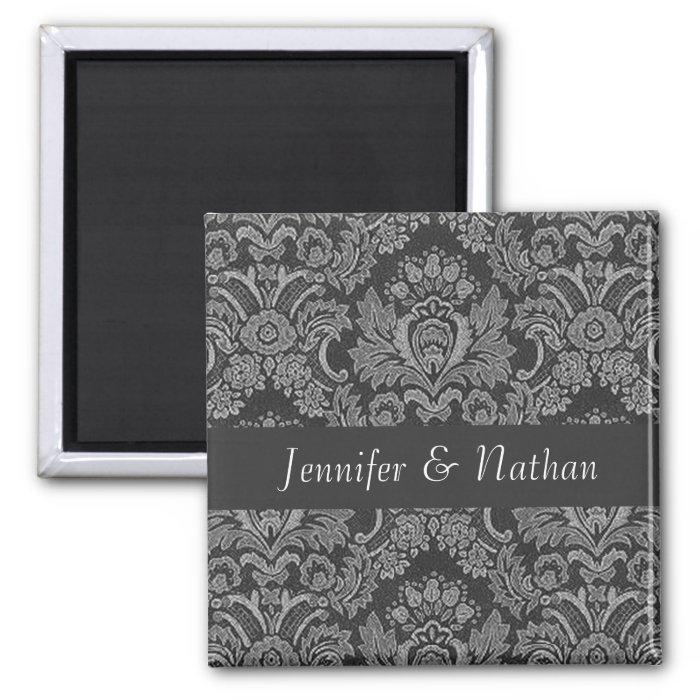 Gray Damask Bride Groom Wedding Magnet