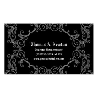 Gray Damask Calling Card Gothic Business Card