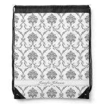 Gray Damask Drawstring Backpack with Custom Name