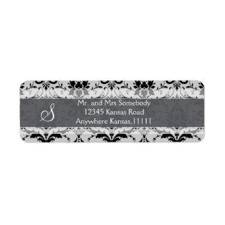 Gray Damask Label Return Address Label