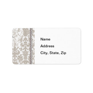 Gray Damask Lace and Ribbon Label