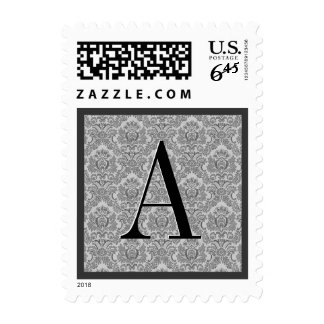Gray Damask Monogram Wedding Stamp