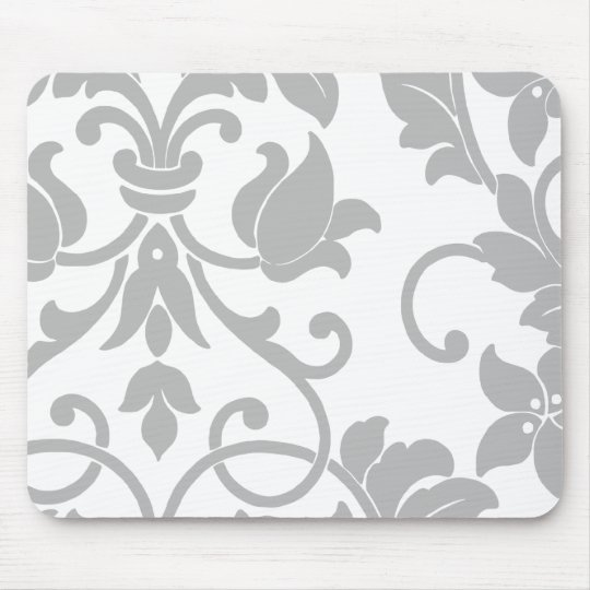 Gray Damask on White Mouse Pad