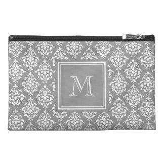Gray Damask Pattern 1 Monogram Travel Accessory Bag