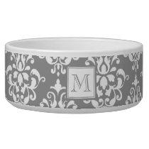 Gray Damask Pattern 1 with Monogram Bowl