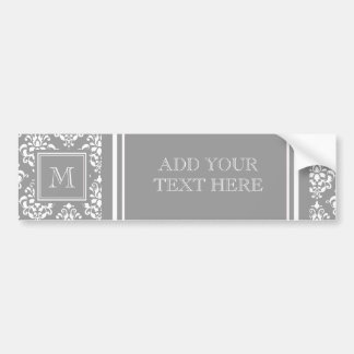 Gray Damask Pattern 1 with Monogram Bumper Stickers