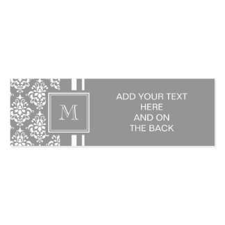 Gray Damask Pattern 1 with Monogram Double-Sided Mini Business Cards (Pack Of 20)