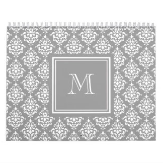 Gray Damask Pattern 1 with Monogram Wall Calendars
