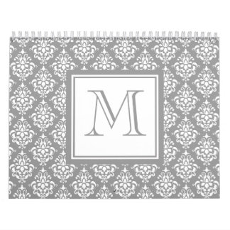 Gray Damask Pattern 1 with Monogram Calendar