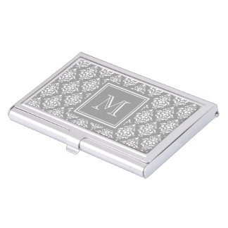 Gray Damask Pattern 1 with Monogram Case For Business Cards