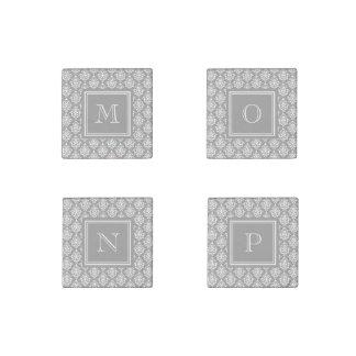 Gray Damask Pattern 1 with Monogram Stone Magnet