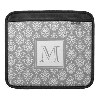 Gray Damask Pattern 1 with Monogram iPad Sleeve