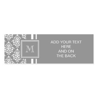 Gray Damask Pattern 1 with Monogram Mini Business Card