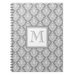 Gray Damask Pattern 1 with Monogram Spiral Note Books