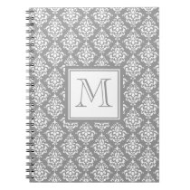 Gray Damask Pattern 1 with Monogram Notebook