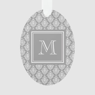 Gray Damask Pattern 1 with Monogram Ornament