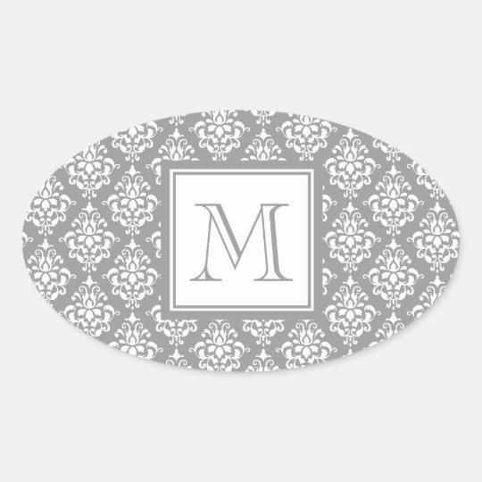 Gray Damask Pattern 1 with Monogram Oval Sticker