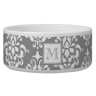 Gray Damask Pattern 1 with Monogram Pet Food Bowls