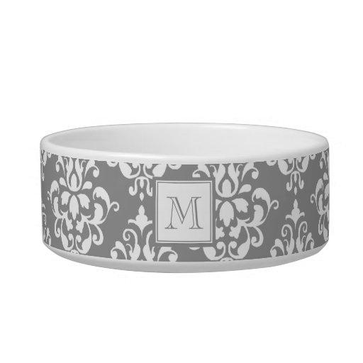Gray Damask Pattern 1 with Monogram Pet Bowls