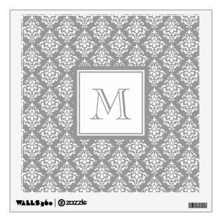 Gray Damask Pattern 1 with Monogram Wall Sticker