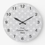Gray Damask Pattern with Custom Black Text. Clock
