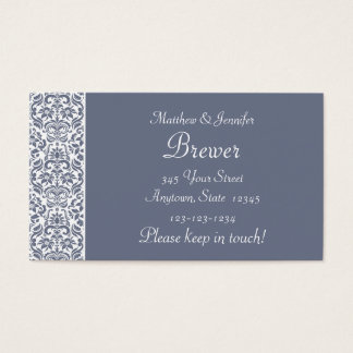 Gray Damask Personalized Change of Address Cards
