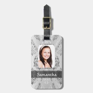 Gray damask personalized photo border luggage tag