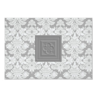 Gray Damask RSVP Card with Cross or Quatrefoil