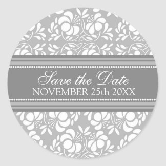 Gray Damask Save the Date Envelope Seal Classic Round Sticker