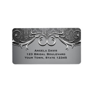 Gray Damask, Silver Scroll Label