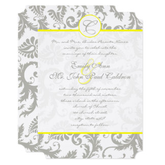 Gray Damask Swirls Bight Yellow Wedding Invitation