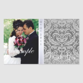 Gray Damask Thank You Photo Wedding Sticker