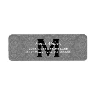 Gray Damask Wedding Monogram Address Label V11