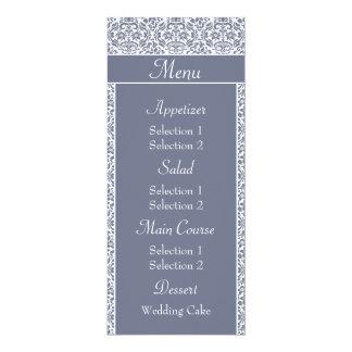 Gray Damask Wedding Reception Dinner Menu Custom Announcement