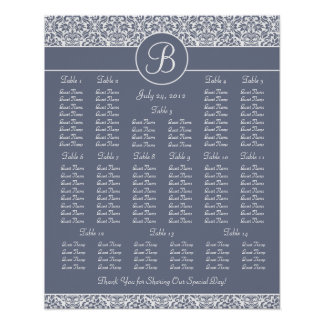 Gray Damask Wedding Reception Seating Chart Posters