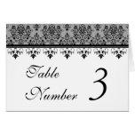 Gray Damask Wedding Table Cards Greeting Card