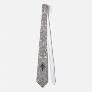 Gray Damask With Cross Neck Tie