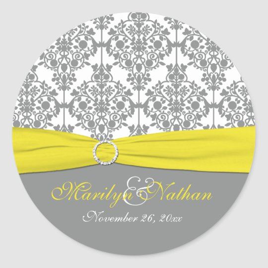 "Gray Damask with Yellow 1.5"" Round Sticker"