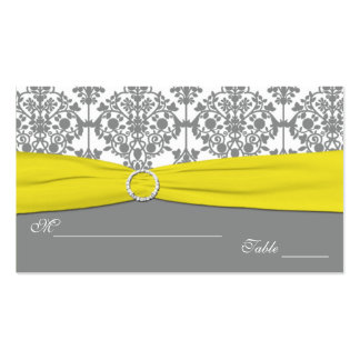 Gray Damask with Yellow Damask Placecards Double-Sided Standard Business Cards (Pack Of 100)