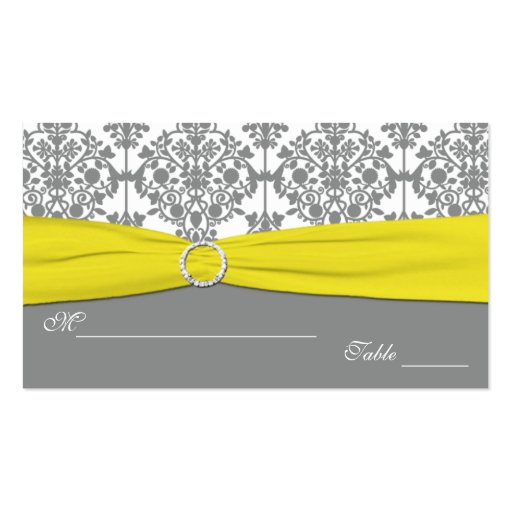 Gray Damask with Yellow Damask Placecards Business Card Template