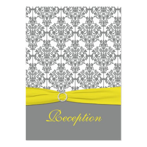 Gray Damask with Yellow Reception Card Business Card