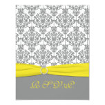 Gray Damask with Yellow RSVP Card