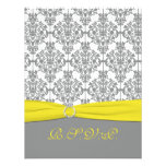 Gray Damask with Yellow RSVP Card Announcement