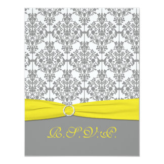 """Gray Damask with Yellow RSVP Card 4.25"""" X 5.5"""" Invitation Card"""