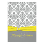 Gray Damask with Yellow Wedding Invitation