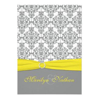 Gray Damask with Yellow Wedding Invitation